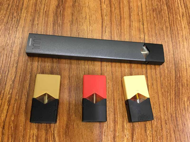 JUUL device and nicotine replacement pods