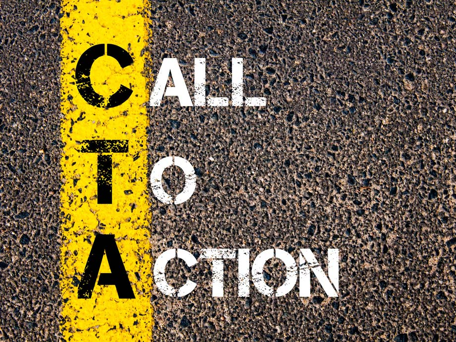 Call to Action written on roadway asphalt