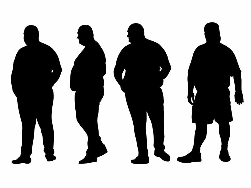 image of four obese male silhouettes