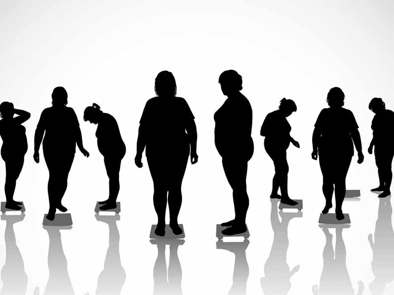 group of silhouetted obese women standing on floor scales