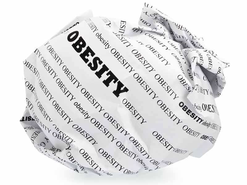 crumpled ball of paper labeled obesity
