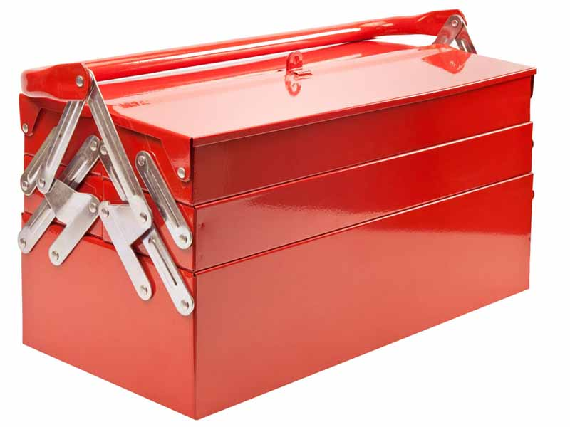 12781928 - red metal toolbox isolated on white