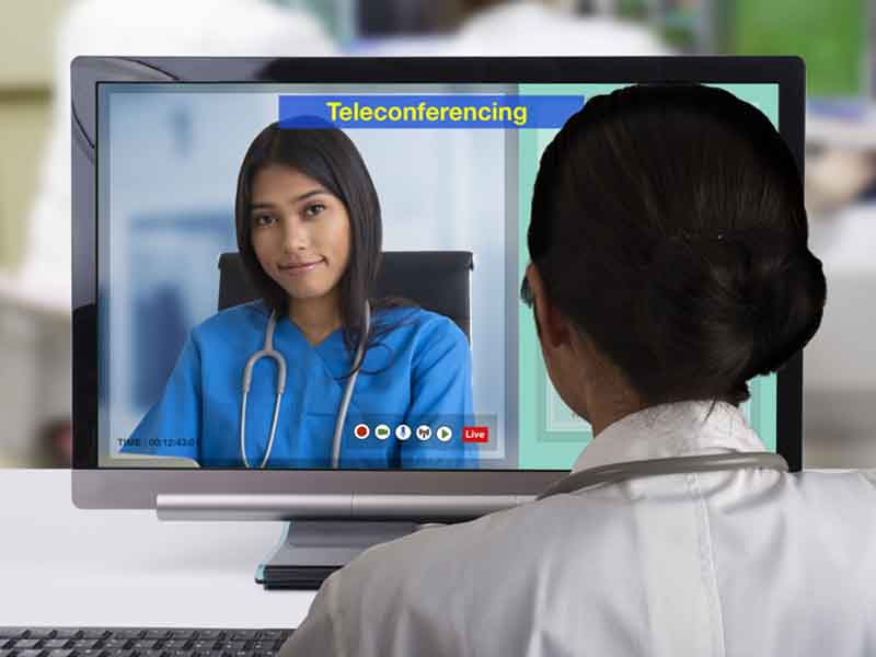 Two doctors meeting in videoconference