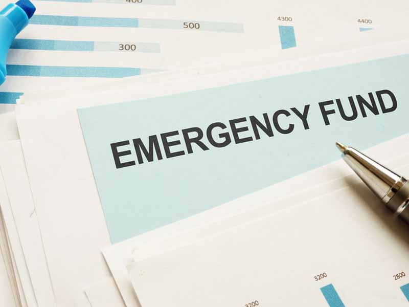 emergency fund header with marker and pen