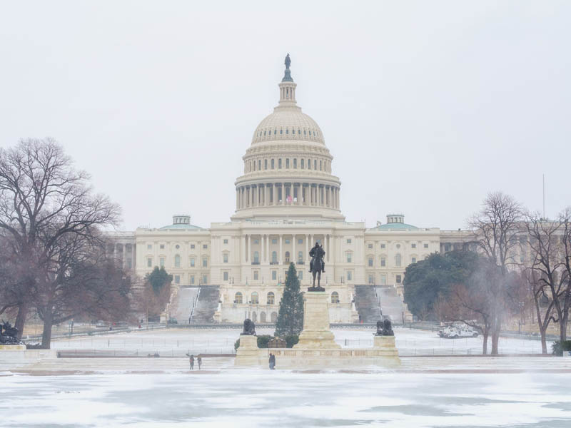 Capitol building in winter