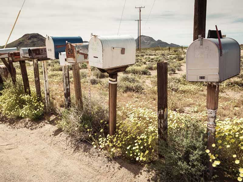 row of old mailboxes