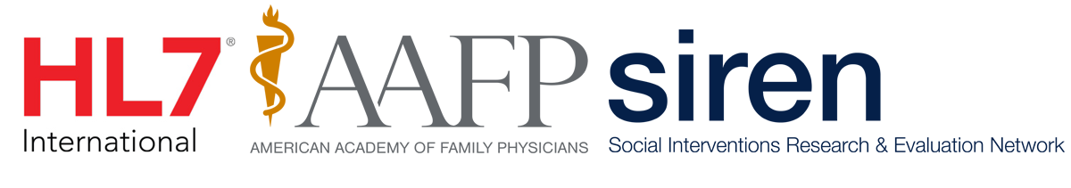 The corporate logos of the following organizations: HL7 International, AAFP American Academy of Family Physicians, SIREN: Social Interventions Research & Evaluation Network lined up in a horizontal row.